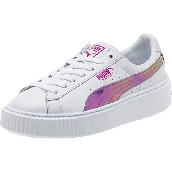 335704396f02 Puma Basket Platform Rainbow iridescent Sneakers